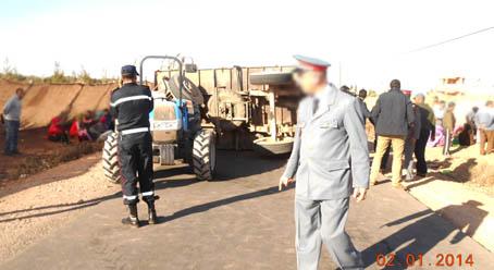 5 متدربين ومتدربات ضمن أزيد من 32 إصابة في إنقلاب عربة تقل عمالا زراعيين بآيت اعميرة